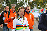 World Champion gold medal winner Annemiek Van Vleuten (NED) at the end of the Women Elite Road Race of the UCI World Championships 2019 running 149.4km from Bradford to Harrogate, England. 28th September 2019.<br /> Picture: Seamus Yore | Cyclefile<br /> <br /> All photos usage must carry mandatory copyright credit (© Cyclefile | Seamus Yore)