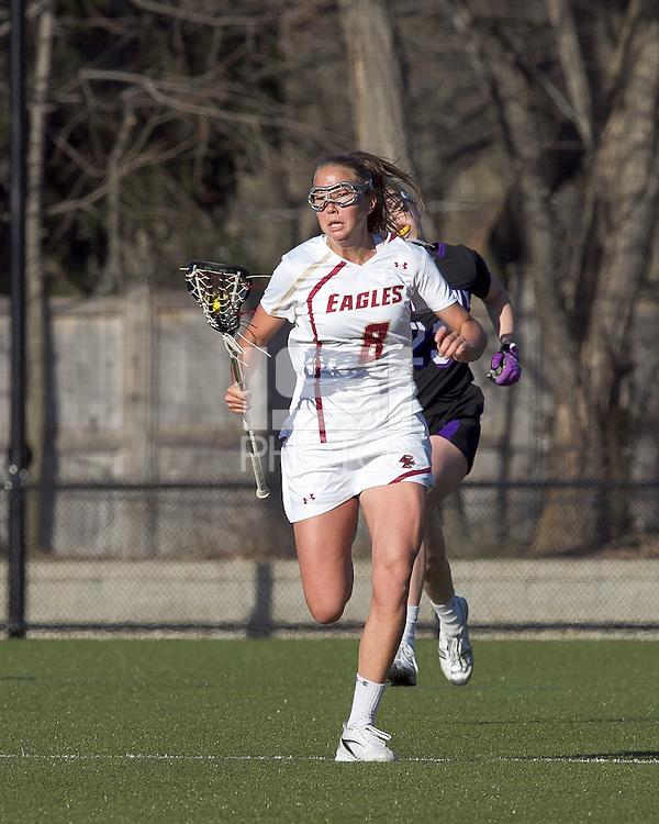 Boston College midfielder Hannah Alley (8) advances the ball. University at Albany defeated Boston College, 11-10, at Newton Campus Field, on March 30, 2011.