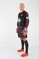 Wednesday 06 May 2015<br /> Pictured: Goalkeeper David Cornell in home kit<br /> Re: Swansea City FC new Adidas kit at Fairwood Training Ground.