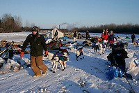 Tuesday March 6, 2007   Volunteer John Runkle leads Sonny Lindner's dogs to a parking spot at the Nikolai checkpoint on Tuesday