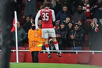 Mohamed Elneny of Arsenal celebrates after he scores his team's sixth goal of the game to make the score 6-0 during the UEFA Europa League match between Arsenal and FC BATE Borisov  at the Emirates Stadium, London, England on 7 December 2017. Photo by David Horn.