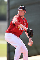 St. Louis Cardinals pitcher Kyle Hald (25) throws a bullpen session before a minor league spring training intrasquad game on March 28, 2014 at the Roger Dean Stadium Complex in Jupiter, Florida.  (Mike Janes/Four Seam Images)