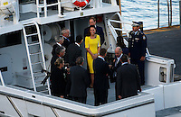 Catherine the Duchess of Cambridge, leaves the Opera House by boat after a reception hosted by the NSW Governor in Sydney, April 16, 2014. Photo by Daniel Munoz/VIEWPRESS