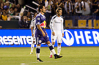 LA Galaxy midfielder David Beckham and New York Red Bulls forward Juan Pablo Angel look on. The New York Red Bulls beat the LA Galaxy 2-0 at Home Depot Center stadium in Carson, California on Friday September 24, 2010.