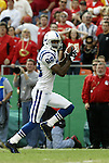 31 October 2004: The Colts' Marvin Harrison highsteps it into the endzone with 4:18 left in the first. His touchdown gave Indianapolis a 6-0 lead. The Kansas City Chiefs defeated the Indianapolis Colts 45-35 at Arrowhead Stadium in Kansas City, MO in a regular season National Football League game...
