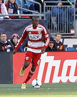 FC Dallas midfielder Jackson Goncalves (6) looks to pass..  In a Major League Soccer (MLS) match, FC Dallas (red) defeated the New England Revolution (blue), 1-0, at Gillette Stadium on March 30, 2013.
