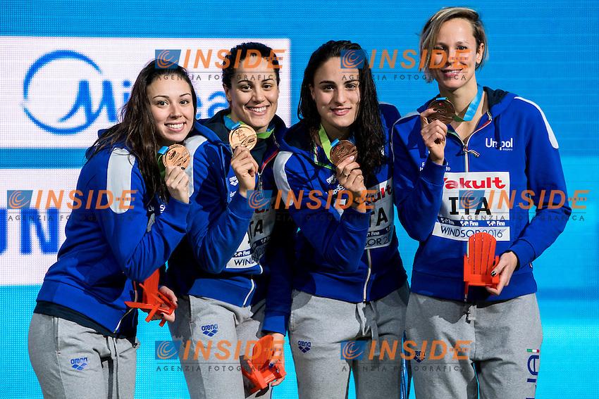 Italy ITA Bronze medal <br /> DI PIETRO Silvia FERRAIOLI Erika PEZZATO Aglaia <br /> PELLEGRINI Federica<br /> Women's 4x50m Freestyle<br /> 13th Fina World Swimming Championships 25m <br /> Windsor  Dec. 11th, 2016 - Day06 Finals<br /> WFCU Centre - Windsor Ontario Canada CAN <br /> 20161211 WFCU Centre - Windsor Ontario Canada CAN <br /> Photo &copy; Giorgio Scala/Deepbluemedia/Insidefoto