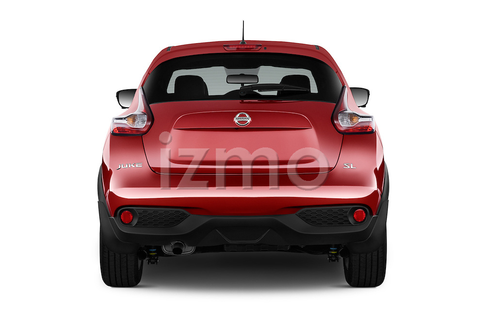 Straight rear view of a 2015 Nissan Juke Acenta 5 Door Suv Rear View  stock images