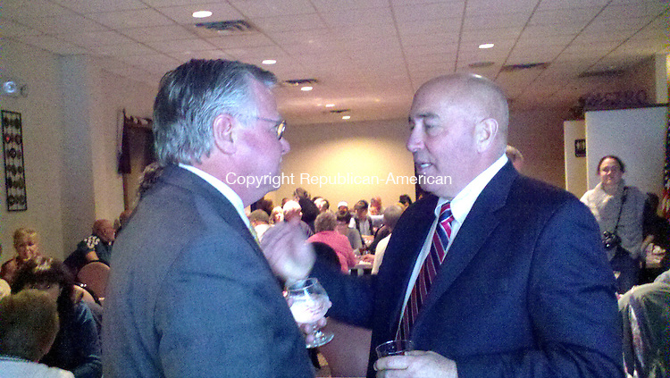 """WOLCOTT - 07_NEW_110612AL03 - From left, John """"Corky"""" Mazurek and Chuck Marsella, Democratic candidates for the 16th Senate and 80th House districts, respectively, talk before the results come in at East Street Eatery in Wolcott.  Drew Larson Republican-American"""