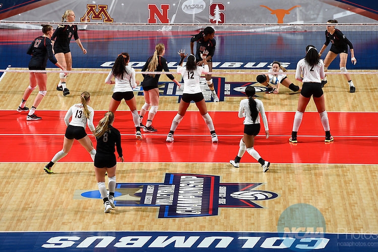 COLUMBUS, OH - DECEMBER 17:  Morgan Hentz (9) of Stanford University hits a dig against the University of Texas during the Division I Women's Volleyball Championship held at Nationwide Arena on December 17, 2016 in Columbus, Ohio.  Stanford beat Texas 3-1 to win the national title. (Photo by Jamie Schwaberow/NCAA Photos via Getty Images)