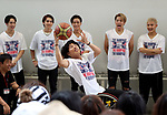 """July 23, 2017, Chiba, Japan - Members of Japanese pop group """"The Rampage from Exile Tribe"""" try to play wheelchair basketball at a promotional event of Paralympic sports at a shopping mall in Chiba, suburban Tokyo on Sunday, July 23, 2017. People try to play Paralympic sports such as wheelchair basketball and wheelchair rugby with Paralympic athletes at the event sponsored by Japan Airlines (JAL).   (Photo by Yoshio Tsunoda/AFLO) LwX -ytd-"""