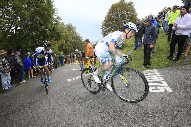 Thomas Damuseau (FRA) Team Argos-Shimano on the savage climb Muro di Sormano during the 107th edition 2013 Tour of Lombardy 242 Km starting in Bergamo and finishing in Lecco. 6th October 2013.<br /> (Photo: Eoin Clarke/www.newsfile.ie)