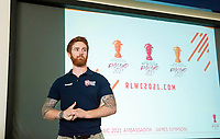 Picture by Allan McKenzie/SWpix.com - 14/06/2018 - Commercial - Rugby League - Rugby League World Cup 2021 Ambassador Unveil, Marne Barracks, Catterick, England - James Simpson answering questions with Rachel Stringer.