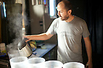BROOKLYN, NY - November 1, 2013: Winemaker, Conor McCormack primes yeast that will be used to ferment wine at Brooklyn Winery. CREDIT: Clay Williams.<br /> <br /> &copy; Clay Williams / http://claywilliamsphoto.com