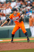 Oklahoma State Cowboys starting pitcher Tyler Buffett #37 delivers a pitch to the plate during the NCAA baseball game against the Texas Longhorns on April 26, 2014 at UFCU Disch–Falk Field in Austin, Texas. The Cowboys defeated the Longhorns 2-1. (Andrew Woolley/Four Seam Images)