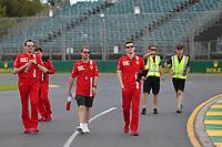11th March 2020; Albert Park, Melbourne, Australia; Formula 1 Australia Grand Prix, setup day; Scuderia Ferrari, Sebastian Vettel walks the track