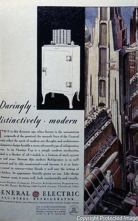 Advertisement:  General Electric Ad in FORTUNE MAGAZINE, 1931.  YESTERDAY'S TOMORROWS.