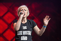 Kate Westall sings with the Trevor Horn Band during Rewind South, The 80s Festival, at Temple Island Meadows, Henley-on-Thames, England on 20 August 2016. Photo by David Horn.