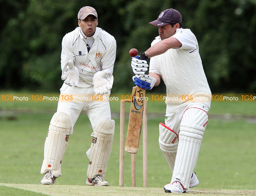 Ejaz of Newham in batting action - Hornchurch Athletic CC vs Newham CC, Essex League at Hylands Park, Hornchurch - 09/06/12 - MANDATORY CREDIT: Rob Newell/TGSPHOTO - Self billing applies where appropriate - 0845 094 6026 - contact@tgsphoto.co.uk - NO UNPAID USE..