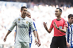 Cristiano Ronaldo of Real Madrid reacts referee during the match of  La Liga between Real Madrid and Deportivo Alaves at Bernabeu Stadium Stadium  in Madrid, Spain. April 02, 2017. (ALTERPHOTOS / Rodrigo Jimenez)