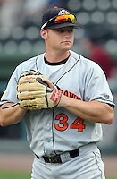 July 21, 2008: Infielder Robert Jacobson (34) of the Hagerstown Suns, Class A affiliate of the Washington Nationals, in a game against the Greenville Drive at Fluor Field at the West End in Greenville, S.C. Photo by:  Tom Priddy/Four Seam Images