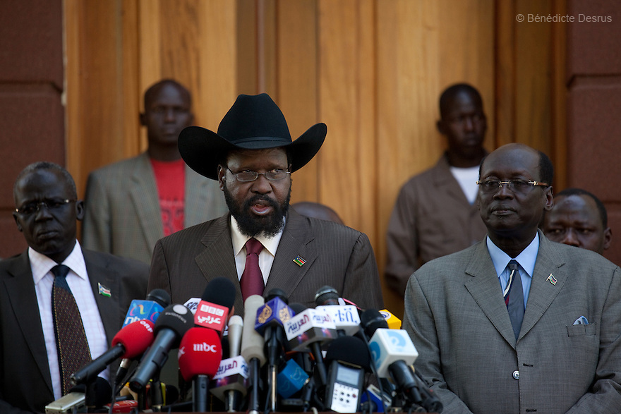 January 8, 2011 - Juba, Sudan - South Sudan's President Salva Kiir speaks to reporters after his meeting with U.S. Senator John Kerry in Juba. Southern Sudan begins voting in a weeklong independence referendum Sunday that is likely to see Africa's largest country split in two. In order for the referendum to pass, a simple majority must vote for independence and 60 percent of the 3.9 million registered voters must cast ballots. Photo credit: Benedicte Desrus