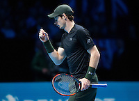 Andy Murray (GBR) celebrates winning a point during the ATP World tour final against Novak Djokovic (SRB), ATP World Tour Finals 2016, Day Eight, O2 Arena, Peninsula Square, London, United Kingdom, 20th Nov 2016