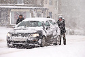 29/01/15<br /> <br /> True British spirit as pedestrians help to push cars up hill in Buxton.<br /> <br /> Heavy snowfall results in multiple accidents, stranded vehicles and traffic chaos as the wintery weather does its best to shut down theDerbyshire Peak District town of Buxton.<br /> <br /> All Rights Reserved - F Stop Press.  www.fstoppress.com. Tel: +44 (0)1335 418629 +44(0)7765 242650