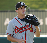 Outfielder Tony Mueller (10) of the Rome Braves, Class A affiliate of the Atlanta Braves, prior to a game against the Greenville Drive on July 17, 2011, at Fluor Field at the West End in Greenville, South Carolina. (Tom Priddy/Four Seam Images)