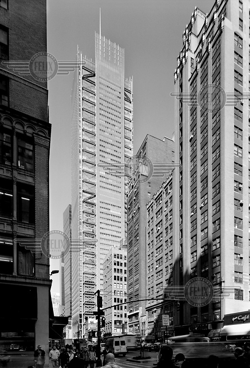 The New York Times building, on 8th Avenue, designed by architect Renzo Piano.