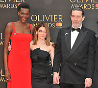 Sheila Atim, Shirley Henderson and Ciaran Hinds at the Olivier Awards 2018, Royal Albert Hall, Kensington Gore, London, England, UK, on Sunday 08 April 2018.<br /> CAP/CAN<br /> &copy;CAN/Capital Pictures<br /> CAP/CAN<br /> &copy;CAN/Capital Pictures