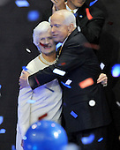 St. Paul, MN - September 4, 2008 -- United States Senator John McCain (Republican of Arizona), right, hugs his mother, Roberta McCain, left, after accepting his party's nomination as President of the United States on day 4 of the 2008 Republican National Convention at the Xcel Energy Center in St. Paul, Minnesota on Thursday, September 4, 2008..Credit: Ron Sachs / CNP