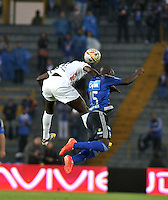 BOGOTA - COLOMBIA -07 -02-2015: Deiver Machado (Der.) jugador de Millonarios disputa el balón con Jesus Murillo (Izq.) jugador de Patriotas FC, durante partido entre Millonarios y Patriotas FC por la fecha 2 de la Liga Aguila I-2015, jugado en el estadio Nemesio Camacho El Campin de la ciudad de Bogota. / Deiver Machado (R) player of Millonarios vies for the ball with Jesus Murillo (L) player of Patriotas FC, during a match between Millonarios and Patriotas FC for the  date 1 of the Liga Aguila I-2015 at the Nemesio Camacho El Campin Stadium in Bogota city, Photo: VizzorImage / Luis Ramirez / Staff.