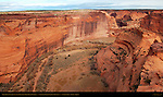 Canyon de Chelly and White House Ruins from White House Overlook, Anasazi Hisatsinom Cliff Dwellings, Canyon de Chelly National Monument, Navajo Nation, Chinle, Arizona