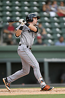 First baseman Ryan Kirby (9) of the Augusta GreenJackets bats in a game against the Greenville Drive on Thursday, May 17, 2018, at Fluor Field at the West End in Greenville, South Carolina. Augusta won, 2-1. (Tom Priddy/Four Seam Images)
