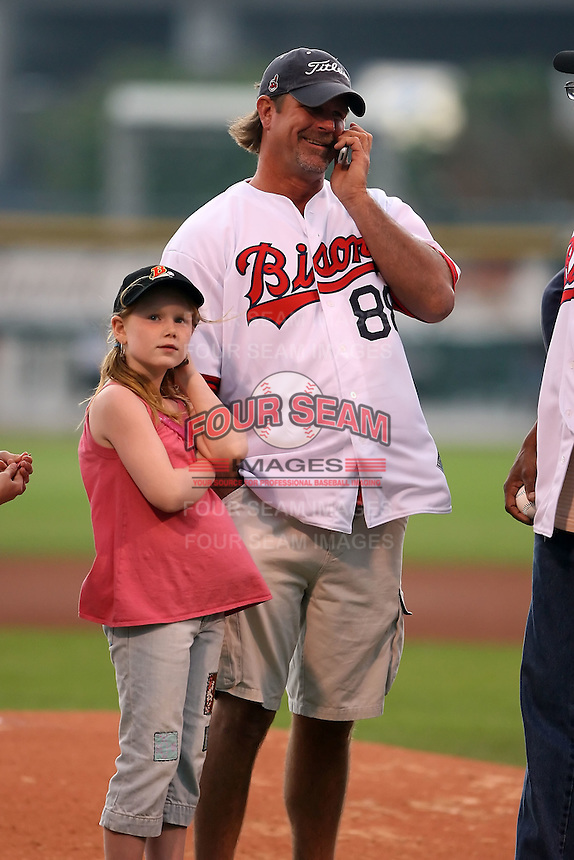 August 25th, 2007:  Scott Medvin talks on his cell phone before the 2007 Buffalo Bisons Hall of Fame Induction at Dunn Tire Park in Buffalo, NY.  Photo by Mike Janes/Four Seam Images