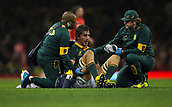 2nd December 2017, Principality Stadium, Cardiff, Wales; Autumn International Rugby Series, Wales versus South Africa; Eben Etzebeth (Captain) of South Africa receives treatment at the end of the first half