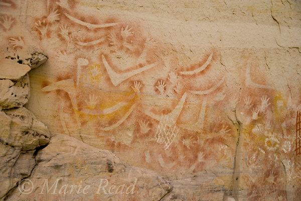 Aboriginal rock art depicting boomerangs, fishing nets, hands, Carnarvon Gorge, Queensland, Australia