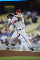 Brandon Webb of the Arizona Diamondbacks during a game from the 2007 season at Dodger Stadium in Los Angeles, California. (Larry Goren/Four Seam Images)