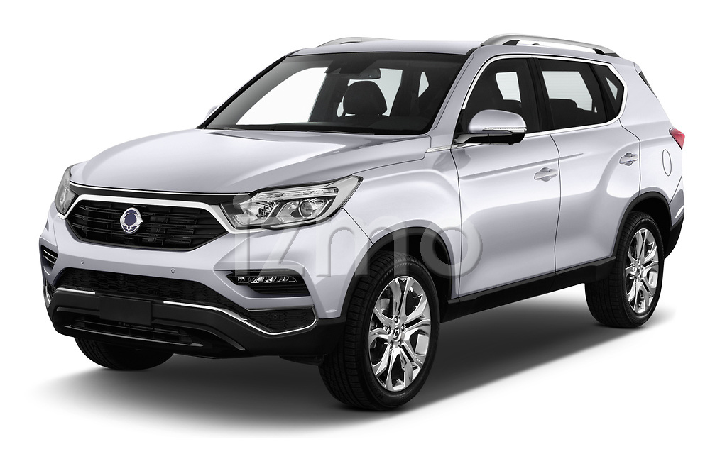 2018 Ssangyong Rexton Sapphire 5 Door SUV angular front stock photos of front three quarter view