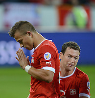 Fussball International  WM Qualifikation 2014   11.09.2012 Schweiz - Albanien Demuetiger Jubel nach dem Tor zum 1-0 durch Xherdan SHAQIRI (li, Schweiz)