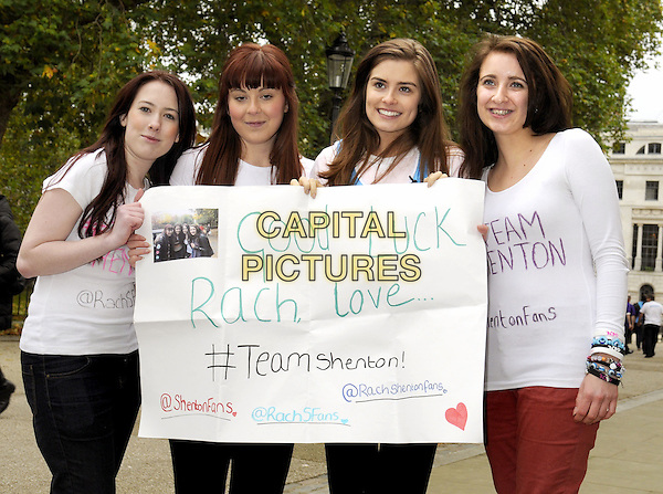 Rachel Shenton (second from right).at the Action For Hearing Photocall at BT Tower, London, UK, October 26th 2012..half length holding sign banner .CAP/BK/PP.©Bob Kent/PP/Capital Pictures