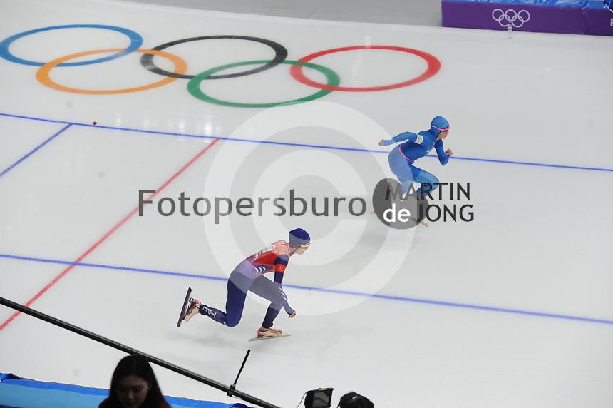 OLYMPIC GAMES: PYEONGCHANG: 18-02-2018, Gangneung Oval, Long Track, 500m Ladies, Yu-Ting Huang (TPE), Francesca Bettrone (ITA), ©photo Martin de Jong