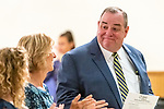 WATERBURY, CT. 18 July 2019-071819 - Waterbury Mayor Neil O'Leary looks over at his wife and other family members after being picked as the democratic nominee again, during the Waterbury Democratic Town Committee meeting of picking its slate of candidates for this years elections at the Waterbury Portuguese Sport Club in Waterbury on Thursday. Bill Shettle Republican-American
