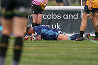 Pete Austin of London Scottish scores a try during the Greene King IPA Championship match between London Scottish Football Club and Ealing Trailfinders at Richmond Athletic Ground, Richmond, United Kingdom on 8 September 2018. Photo by David Horn.