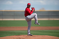 Los Angeles Angels starting pitcher Jose Suarez (70) during a Minor League Spring Training game against the Cincinnati Reds at the Cincinnati Reds Training Complex on March 15, 2018 in Goodyear, Arizona. (Zachary Lucy/Four Seam Images)