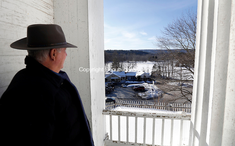 Woodbury, CT- 13 February 2015-021315CM07-<br /> Wayne Anderson, president of the King Solomon's Temple Organization, looks out onto Hollow Park from the west entrance inside King Solomon's Lodge No. 7 in Woodbury on Friday.  That entrance has since been closed. Christopher Massa Republican-American