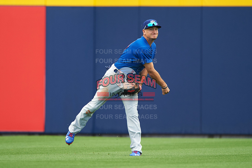 Iowa Cubs center fielder Albert Almora (6) throws the ball in during a game against the Nashville Sounds on May 4, 2016 at First Tennessee Park in Nashville, Tennessee.  Iowa defeated Nashville 8-4.  (Mike Janes/Four Seam Images)