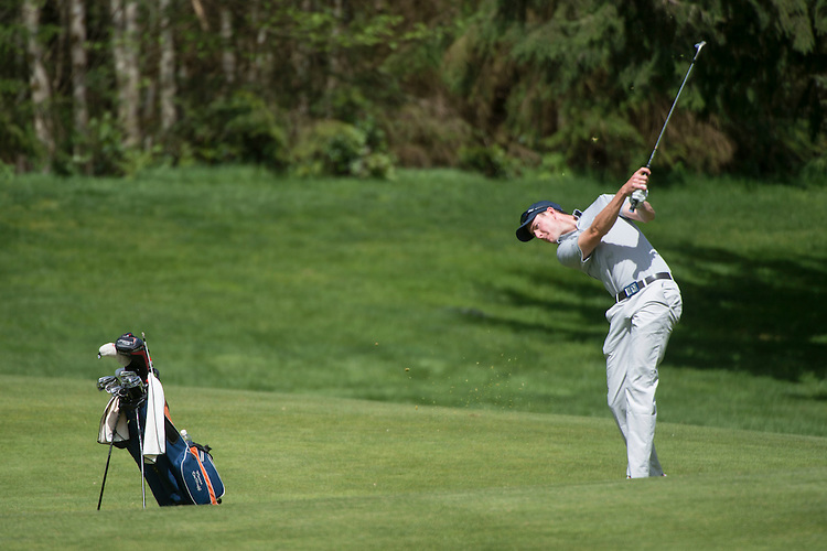 April 15, 2014; Bremerton, WA, USA; Pepperdine Waves golfer Kevin DeHuff during the WCC Golf Championships at Gold Mountain Golf Club.