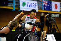 Japan's Yukiobu Ike in action during the 2017 International Wheelchair Rugby Federation Asia-Oceania Zone Championships tournament match between the New Zealand Wheel Blacks and Japan at ASB Stadium in Auckland, New Zealand on Thursday, 31 August 2017. Photo: Dave Lintott / lintottphoto.co.nz